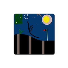Abstract night landscape Square Magnet