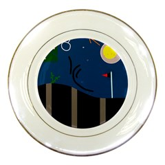 Abstract night landscape Porcelain Plates