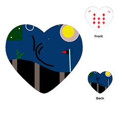 Abstract night landscape Playing Cards (Heart)