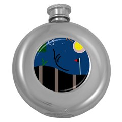 Abstract night landscape Round Hip Flask (5 oz)