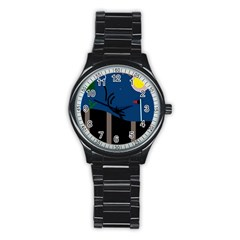 Abstract night landscape Stainless Steel Round Watch