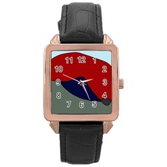 Decorative design Rose Gold Leather Watch
