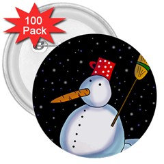 Lonely snowman 3  Buttons (100 pack)