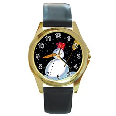 Lonely snowman Round Gold Metal Watch