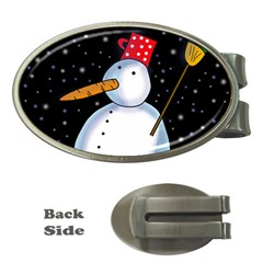 Lonely snowman Money Clips (Oval)