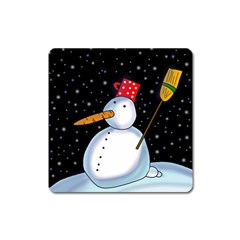 Lonely snowman Square Magnet