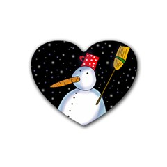 Lonely snowman Rubber Coaster (Heart)