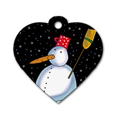 Lonely snowman Dog Tag Heart (One Side)