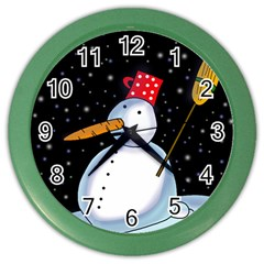 Lonely snowman Color Wall Clocks