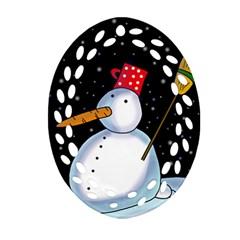Lonely snowman Ornament (Oval Filigree)