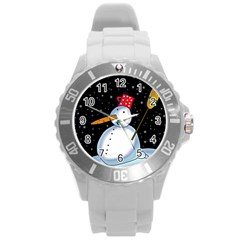Lonely snowman Round Plastic Sport Watch (L)