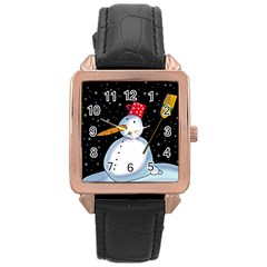 Lonely snowman Rose Gold Leather Watch