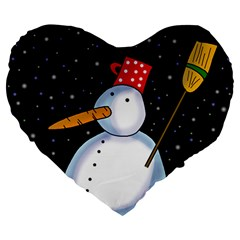 Lonely snowman Large 19  Premium Flano Heart Shape Cushions