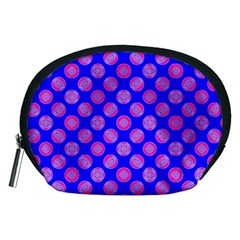 Bright Mod Pink Circles On Blue Accessory Pouches (medium)