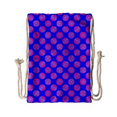 Bright Mod Pink Circles On Blue Drawstring Bag (small)