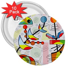 Happy day 3  Buttons (10 pack)