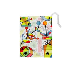 Happy day Drawstring Pouches (Small)