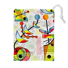 Happy day Drawstring Pouches (Extra Large)