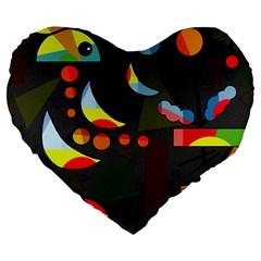 Happy day 2 Large 19  Premium Heart Shape Cushions