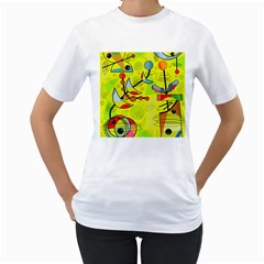 Happy day - yellow Women s T-Shirt (White) (Two Sided)