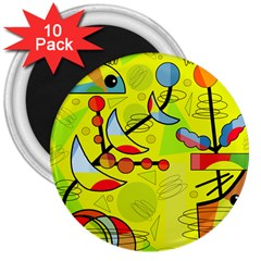 Happy day - yellow 3  Magnets (10 pack)
