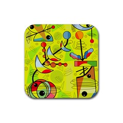 Happy day - yellow Rubber Square Coaster (4 pack)