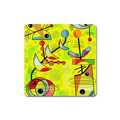Happy day - yellow Square Magnet