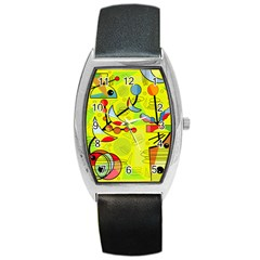 Happy day - yellow Barrel Style Metal Watch