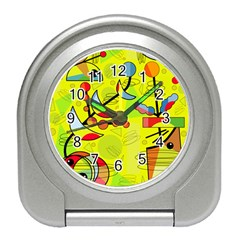 Happy day - yellow Travel Alarm Clocks