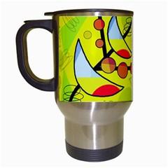 Happy day - yellow Travel Mugs (White)