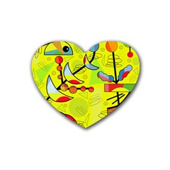 Happy Day   Yellow Heart Coaster (4 Pack)