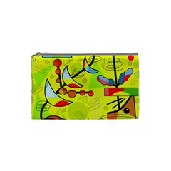 Happy day - yellow Cosmetic Bag (Small)
