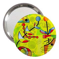 Happy day - yellow 3  Handbag Mirrors