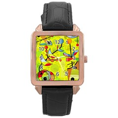 Happy day - yellow Rose Gold Leather Watch