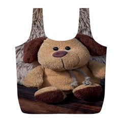 Stuffed Animal Fabric Dog Brown Full Print Recycle Bags (l)