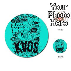 Typography Illustration Chaos Multi Purpose Cards (round)