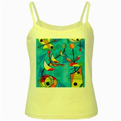 Happy day - blue Yellow Spaghetti Tank