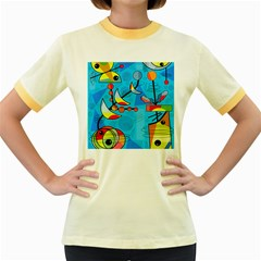 Happy day - blue Women s Fitted Ringer T-Shirts