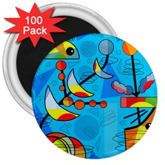 Happy day - blue 3  Magnets (100 pack)
