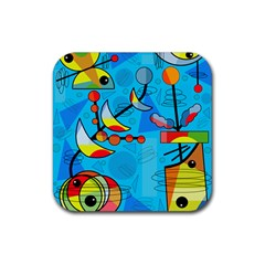 Happy day - blue Rubber Square Coaster (4 pack)