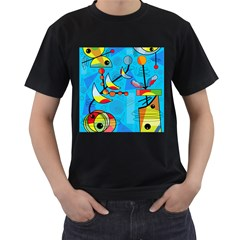 Happy day - blue Men s T-Shirt (Black) (Two Sided)