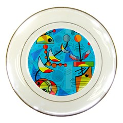 Happy day - blue Porcelain Plates