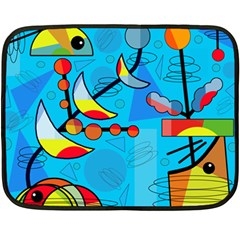 Happy day - blue Double Sided Fleece Blanket (Mini)