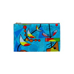 Happy day - blue Cosmetic Bag (Small)
