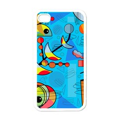 Happy day - blue Apple iPhone 4 Case (White)