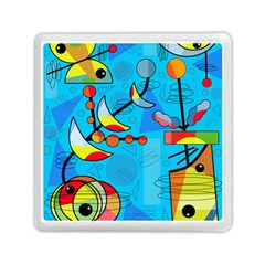 Happy day - blue Memory Card Reader (Square)