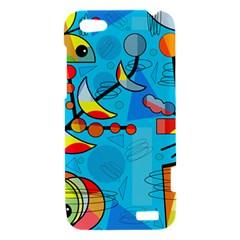 Happy day - blue HTC One V Hardshell Case