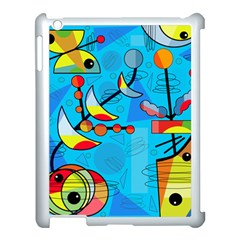 Happy day - blue Apple iPad 3/4 Case (White)