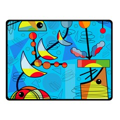 Happy day - blue Double Sided Fleece Blanket (Small)