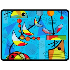 Happy day - blue Double Sided Fleece Blanket (Large)
